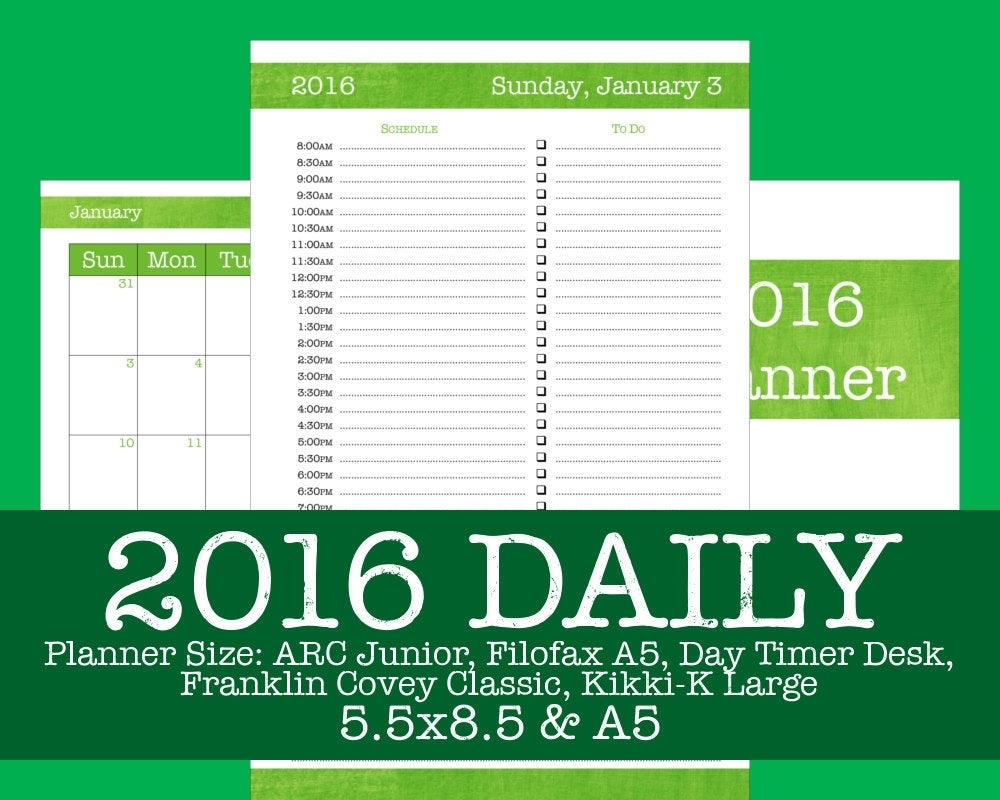 2016 Daily Planner Brushstrokes Lime Arc Filofax By