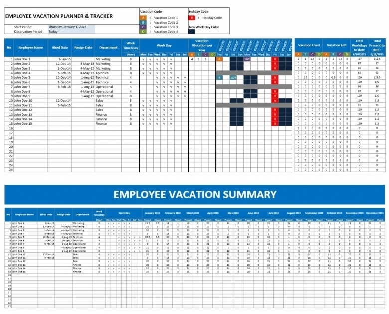 2016 Employee Vacation Time Off Calendar Excel :-Free