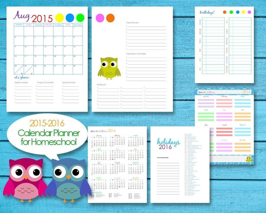 2016 Homeschool Teacher Planner Calendar Editable Pdf