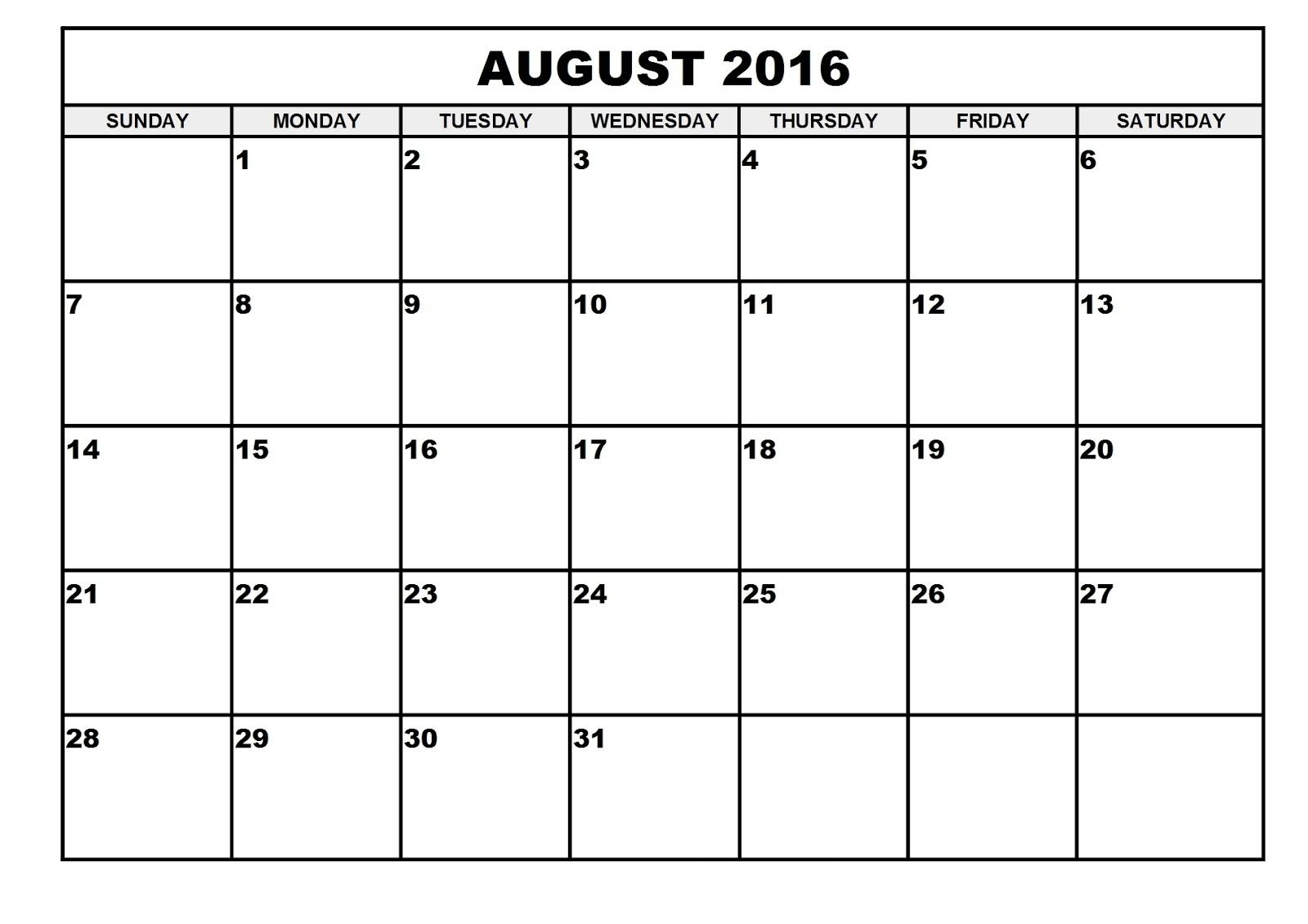 2016 Monthly Blank Calendar: August 2016 Printable