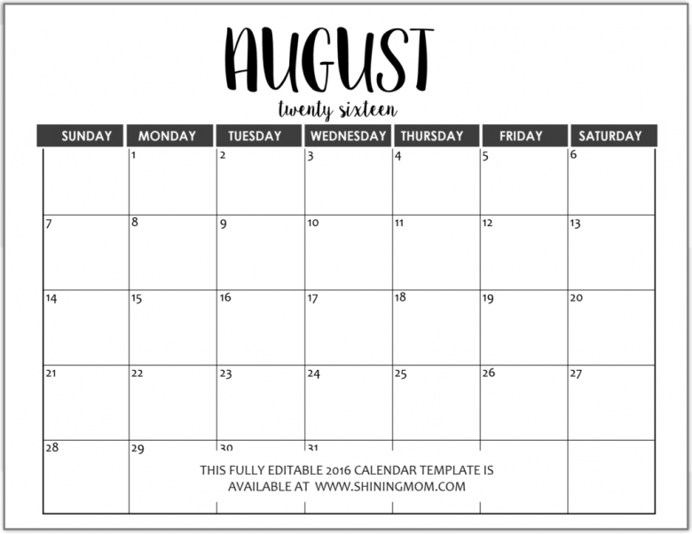2016 Monthly Calendars To Print And Fill Out :-Free