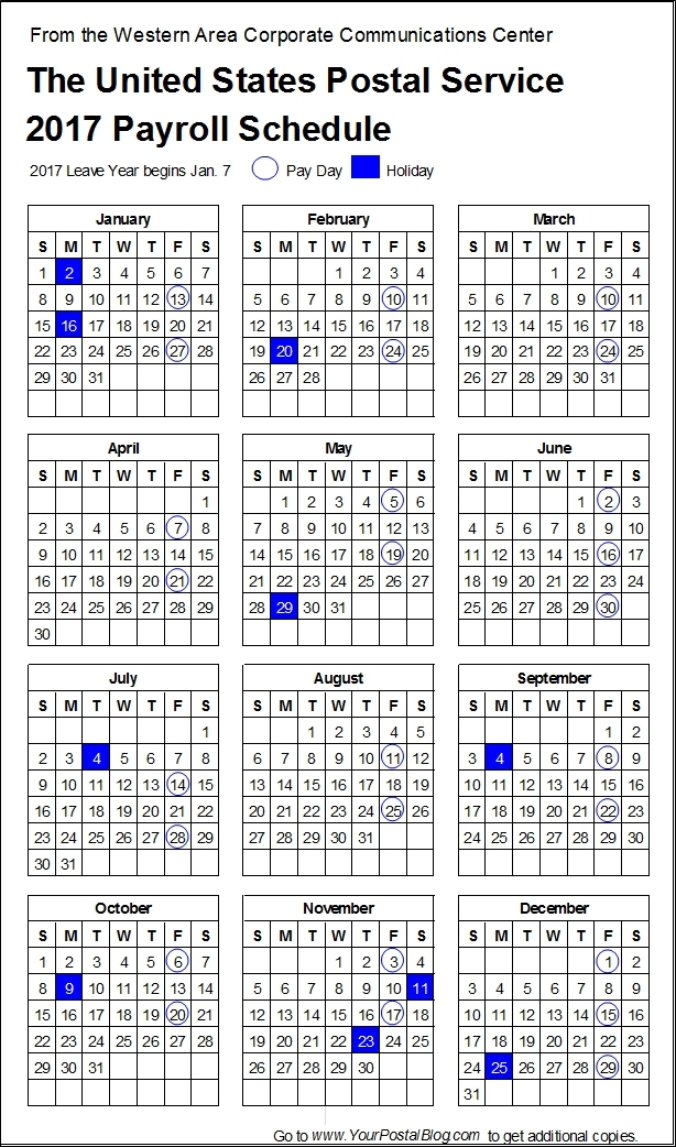 2017-Postal-Payroll-Calendar | Your Postal Blog