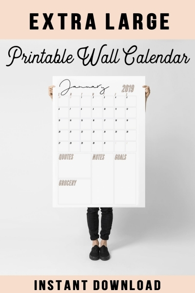 2018 2019 Extra Large Wall Calendar Printable | Etsy | Large