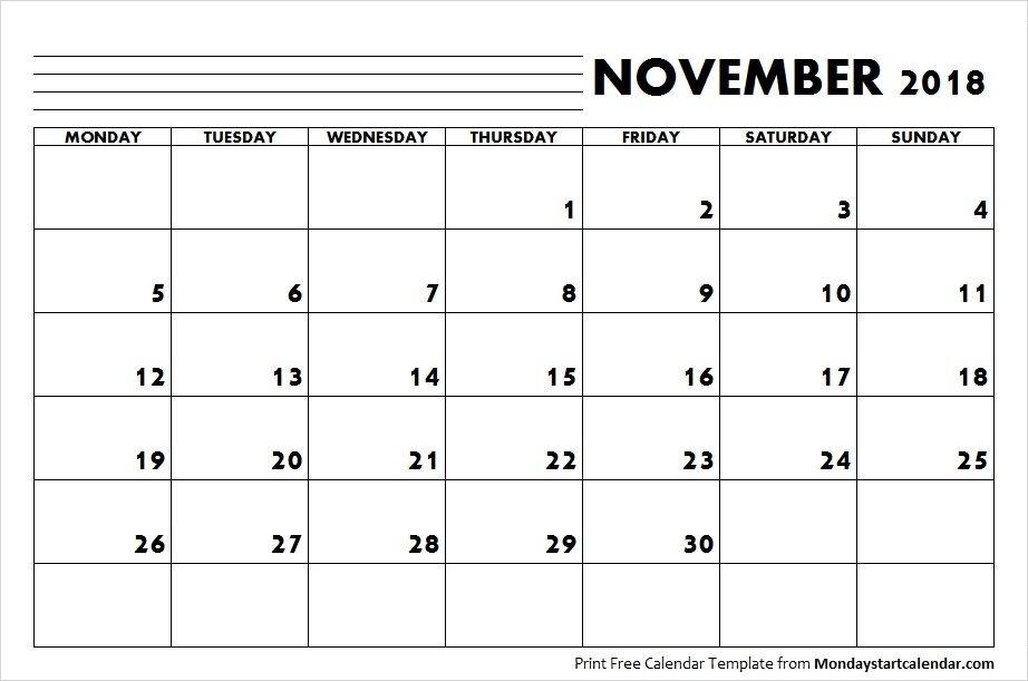 2018 Calendar November Month | Monday Start | November