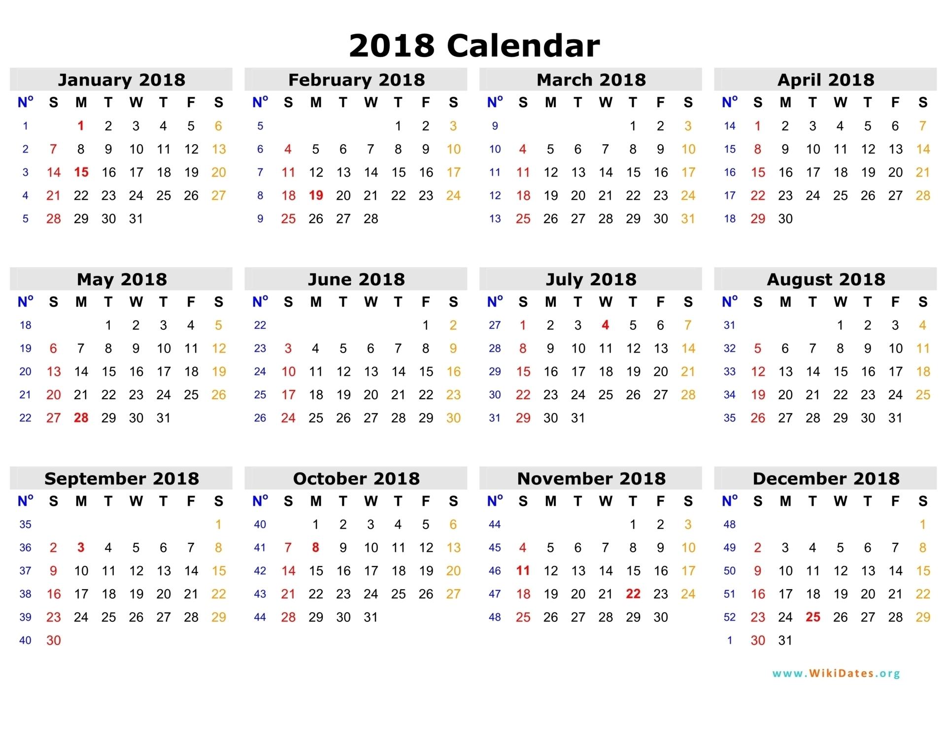 2018 Calendar Printable Templates - Calendar Office - 2020