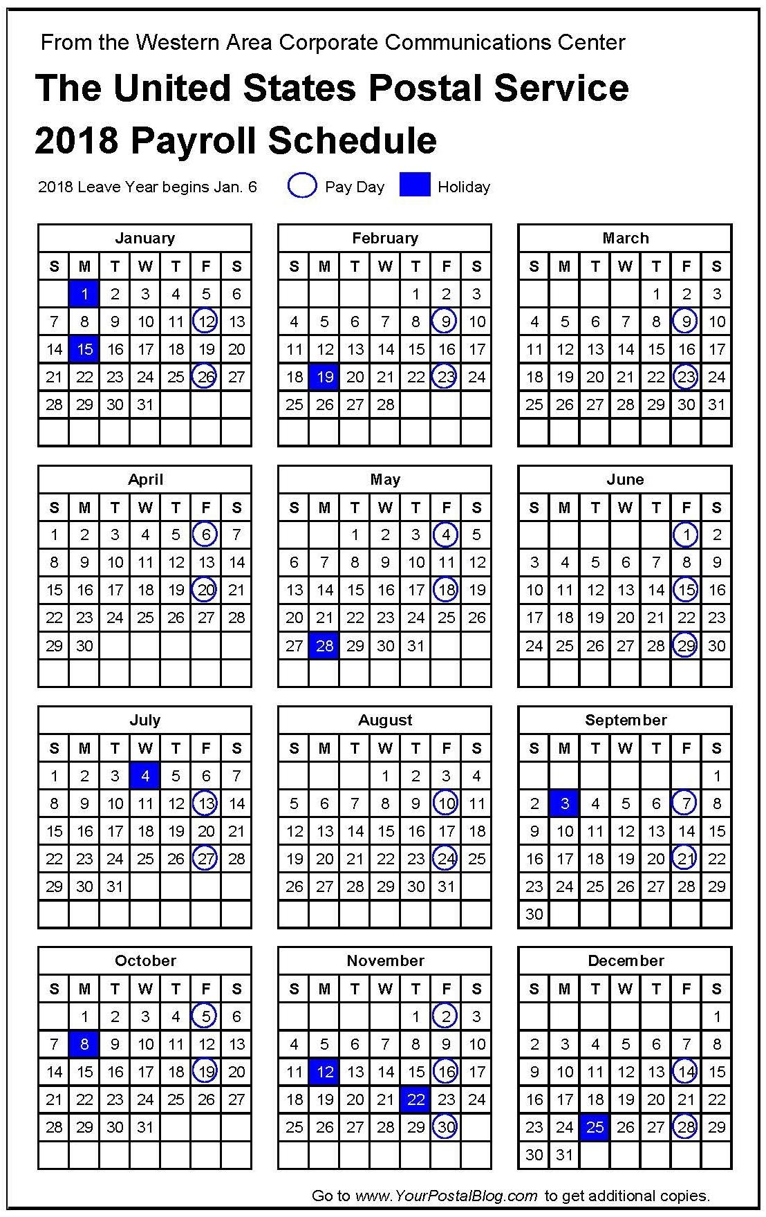 2018 Postal Payroll Calendar | Your Postal Blog