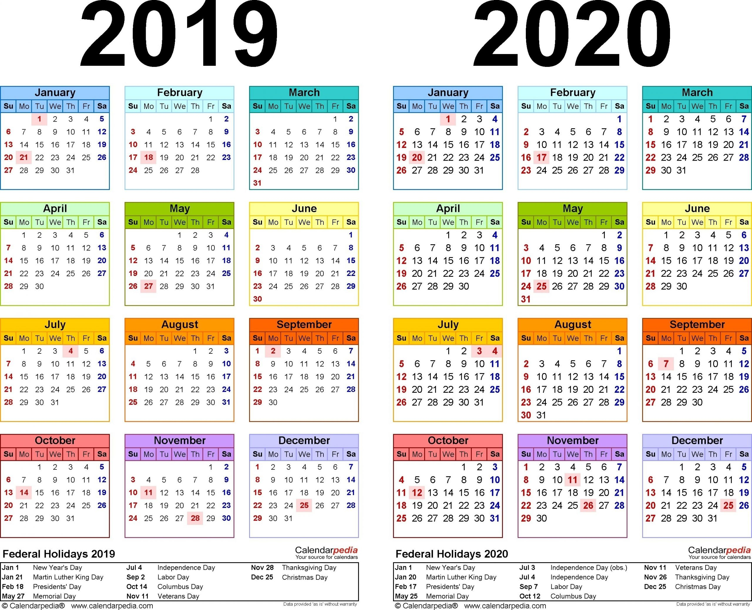 2019-2020 Calendar - Free Printable Two-Year Excel