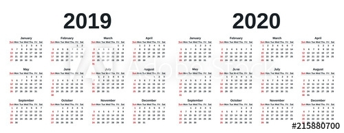 """2019, 2020 Calendar. Vector Graphics. Week Starts Sunday"