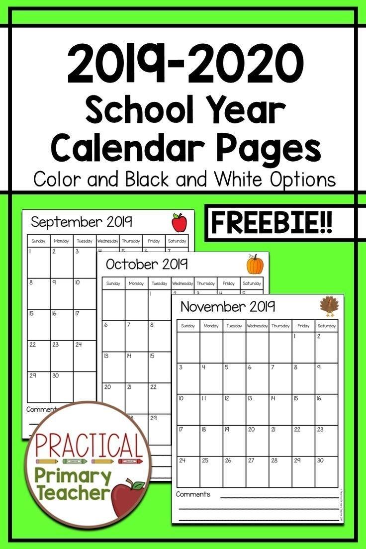2019-2020 Calendars Free | School Calendar Printables
