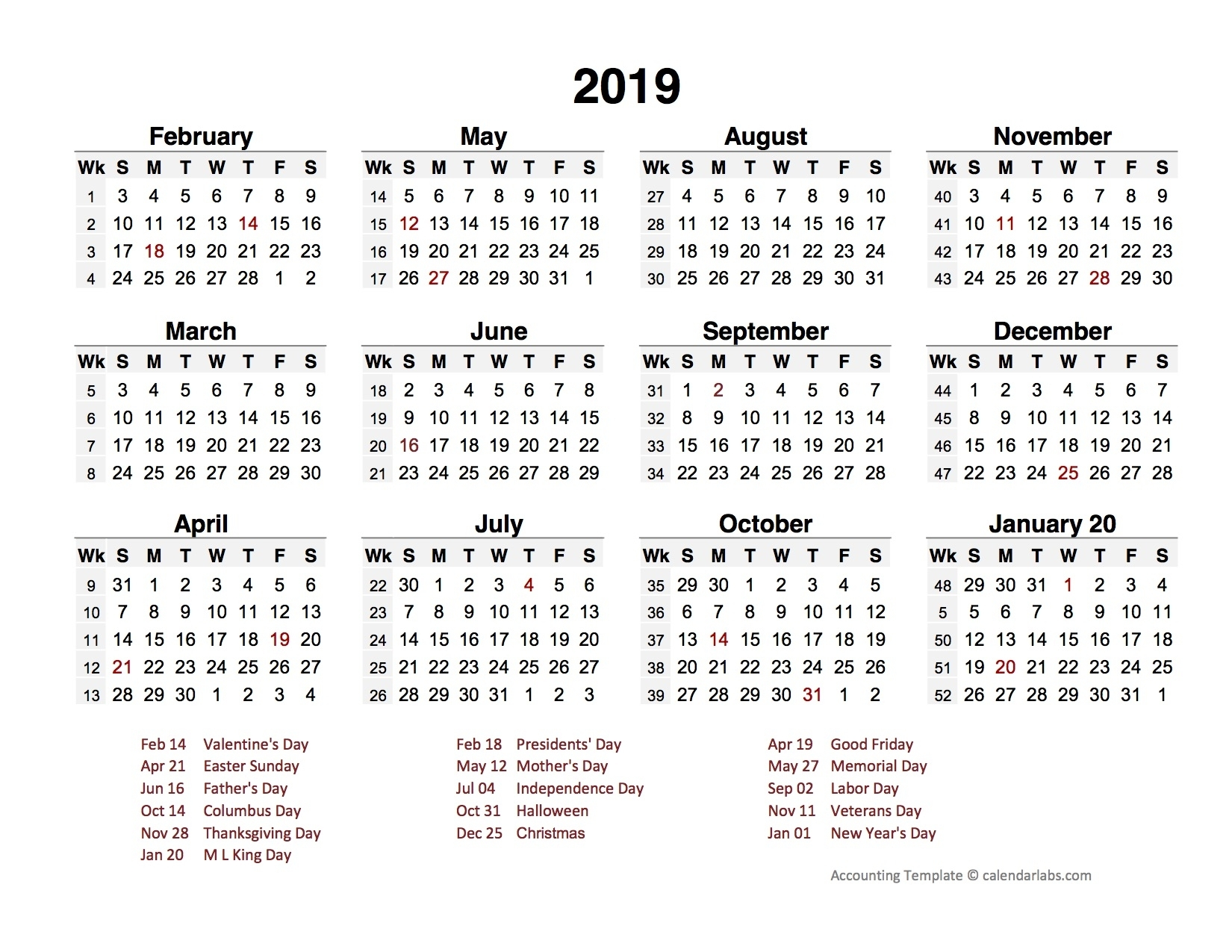 2019 Accounting Period Calendar 4-4-5 - Free Printable