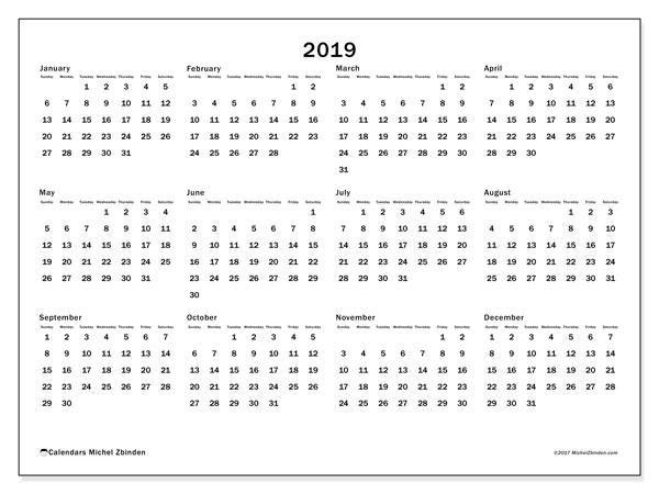 2019 Calendar (32Ss) - Michel Zbinden En