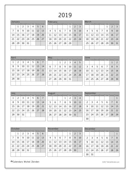 2019 Calendar (37Ms) - Michel Zbinden En
