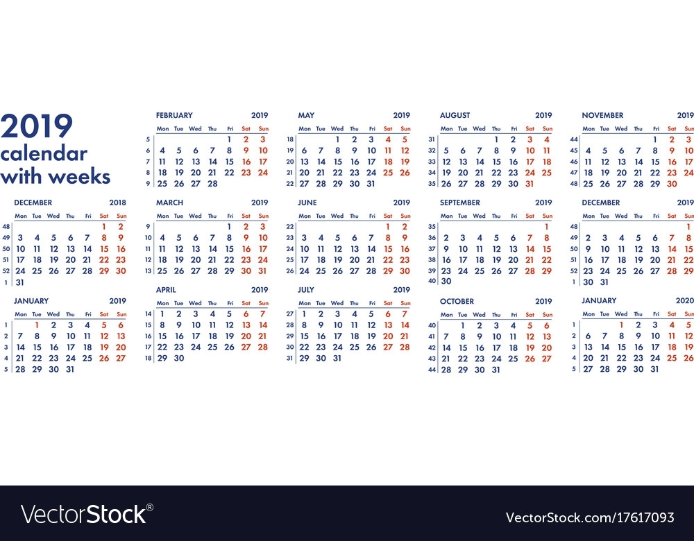 2019 Calendar Grid With Weeks Royalty Free Vector Image
