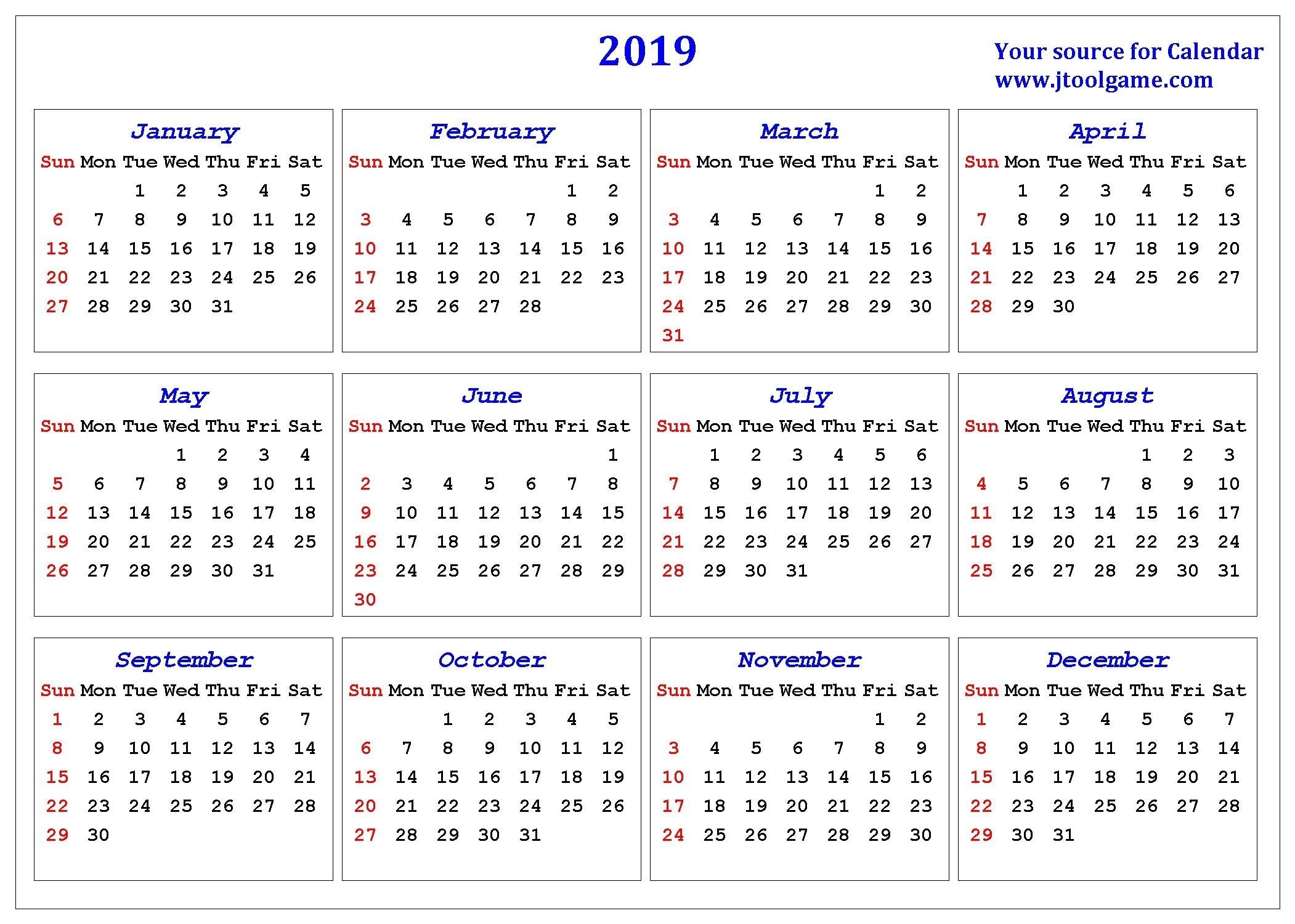 2019 Calendar - Printable Calendar. 2019 Calendar In
