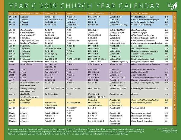 2019 Church Year Calendar - Year C - Calendar - Christian