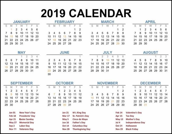2019 Federal Holiday Calendar #Calendar2019 #