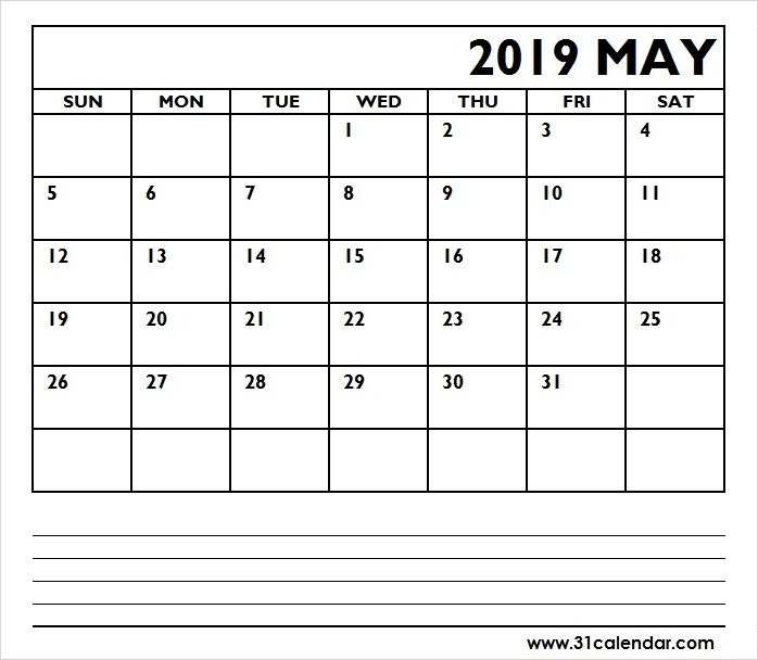 2019 May Calendar With Notes Editable | 31 Calendar | 2018