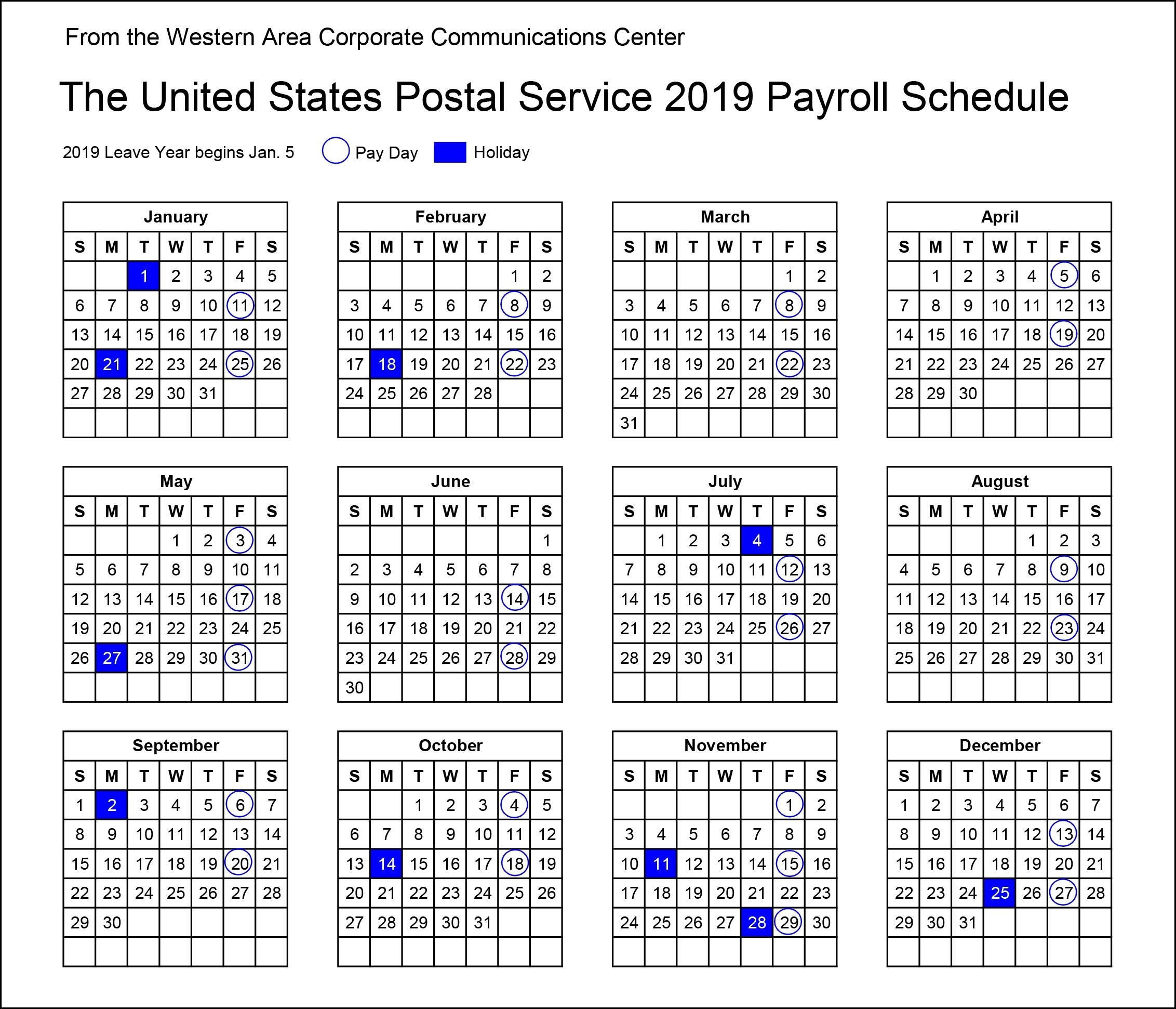 2019 Postal Payroll Calendar   Your Postal Blog