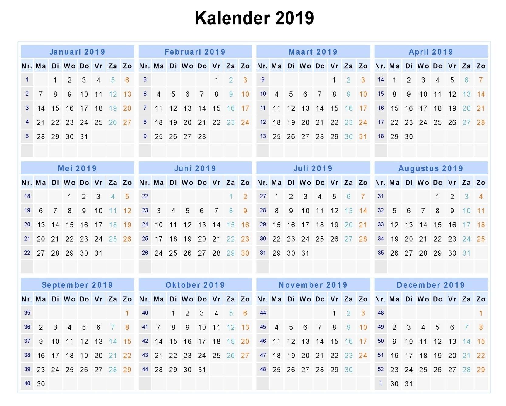 2019 Week Numbers - Free Download Printable Calendar Templates
