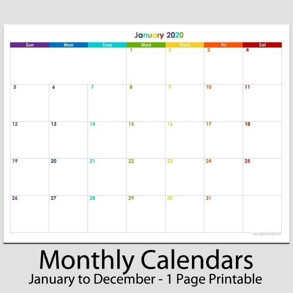 2020 12 Month Calendar Printable Di 2020
