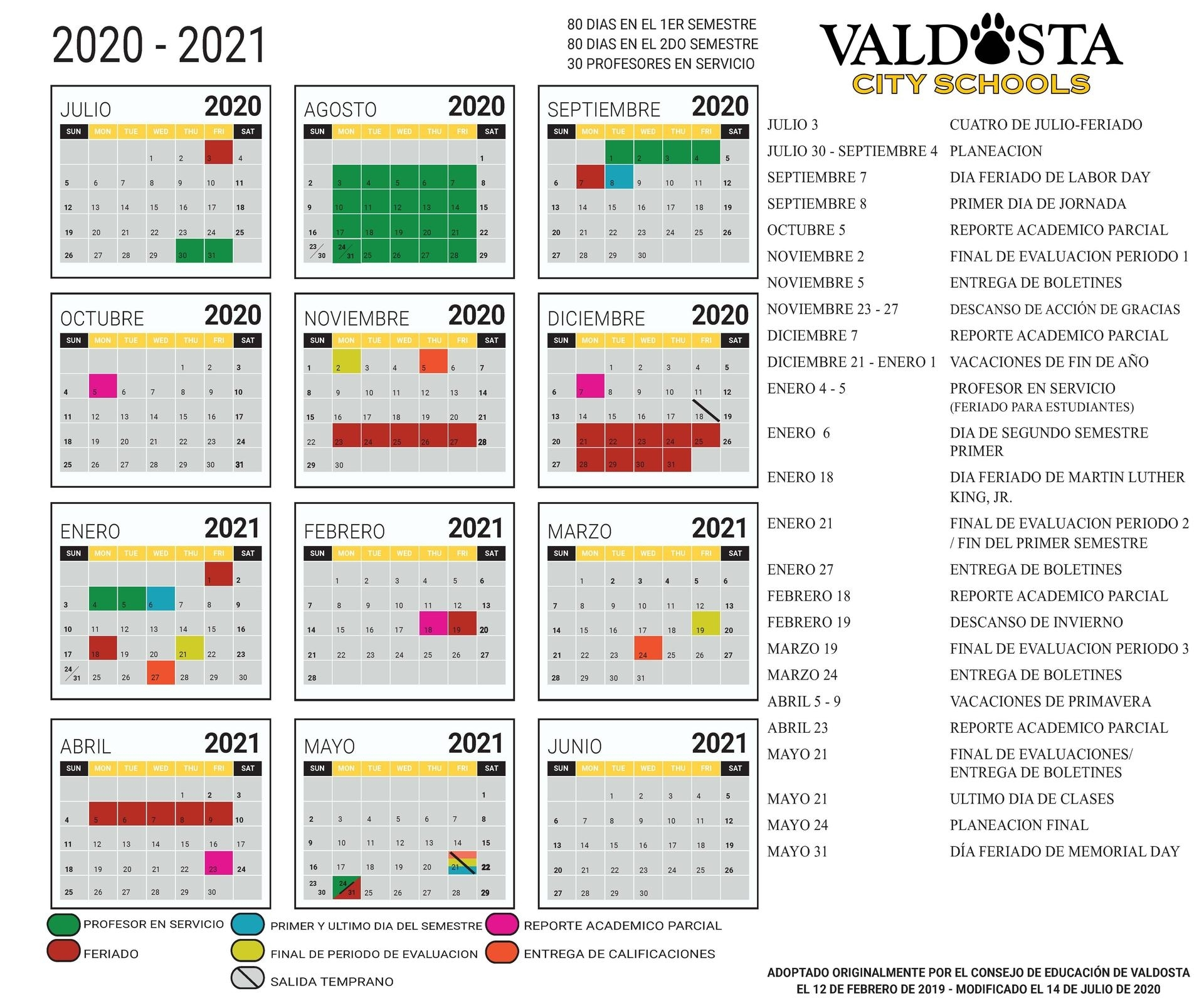 2020 - 2021 Academic Calendar – Student Support Services