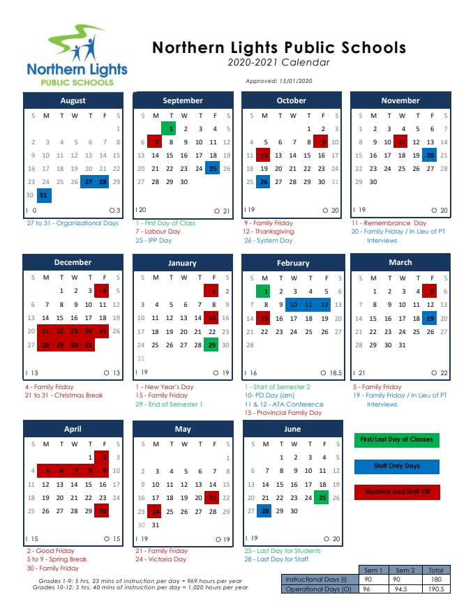 2020-2021 Approved Calendar | Cold Lake Middle School