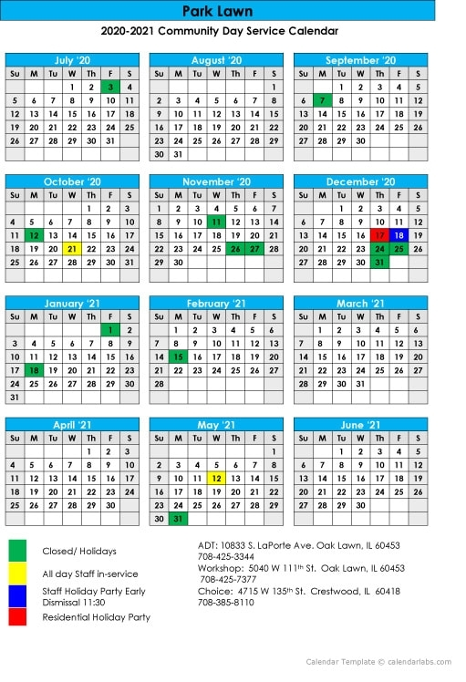 2020-2021 Community Day Services Calendar - Park Lawn