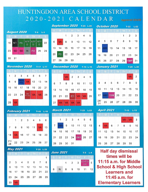 2020-2021 School Calendar – Huntingdon Area School District