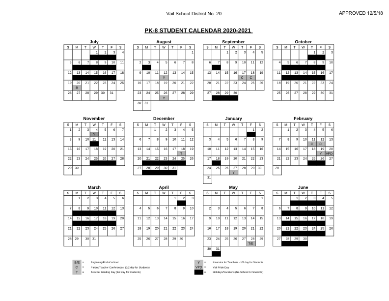 2020 -2021 Student Calendars | Vail School District