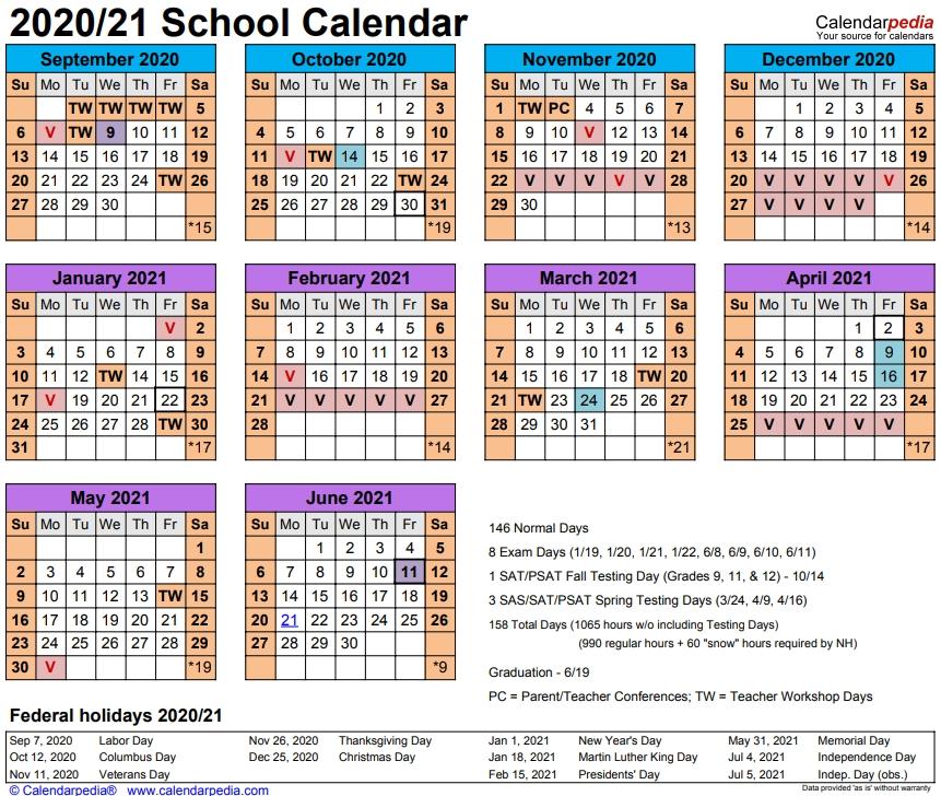 2020 - 21 School Calendar - The Founders Academy