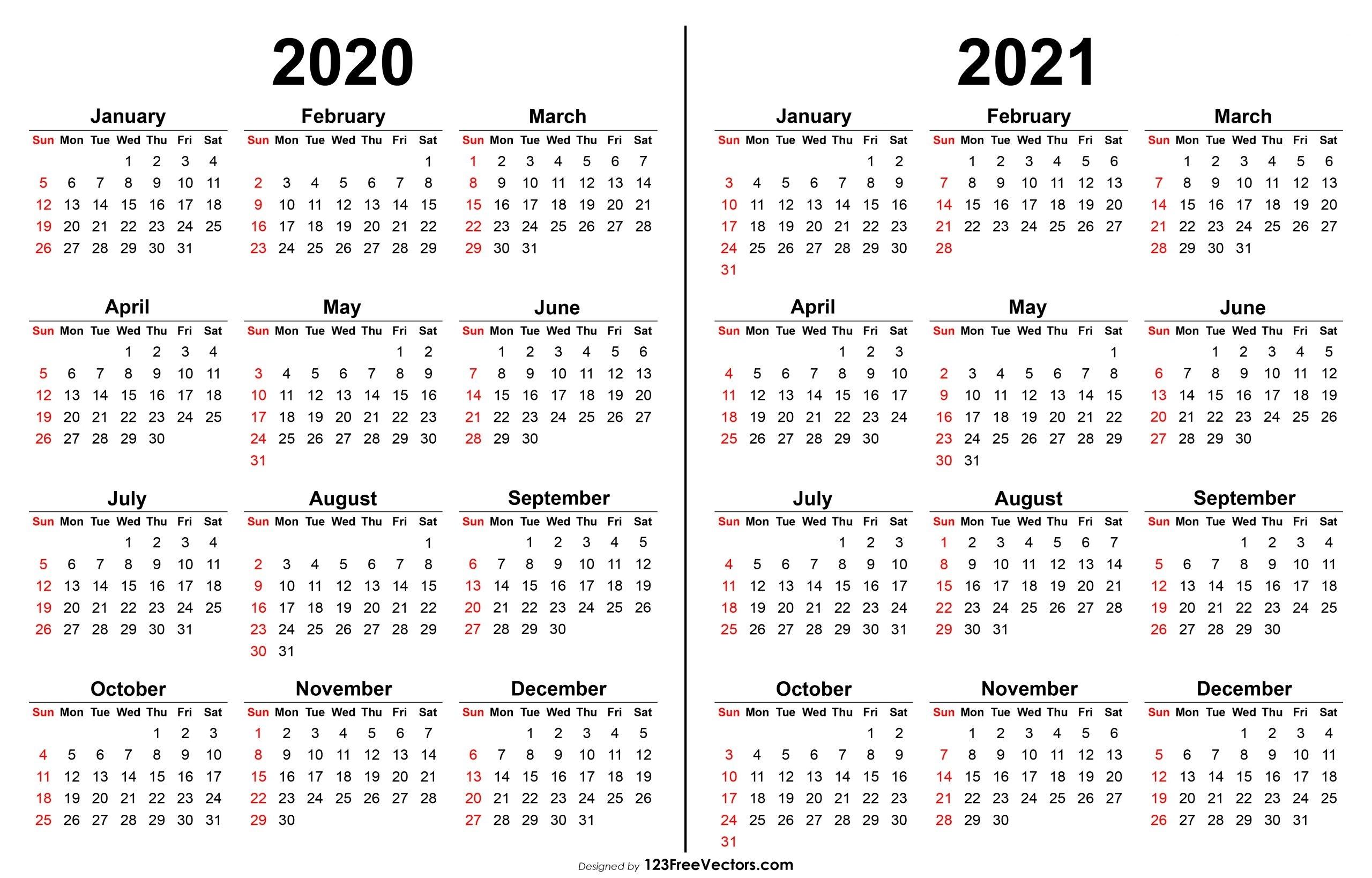 2020 And 2021 Calendar | 2020Calendartemplates