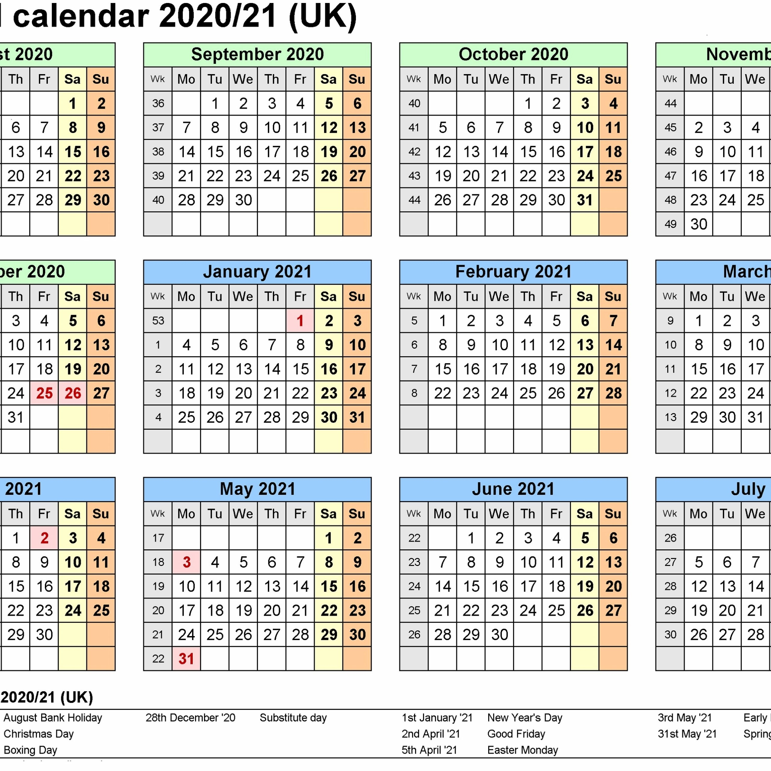 2020 And 2021 Calendar Printable Uk | Free Printable Calendar