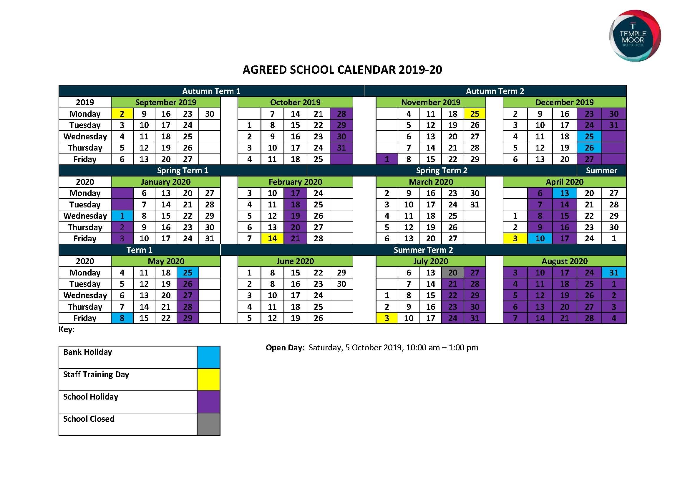 2020 And 2021 School Calendar Leeds
