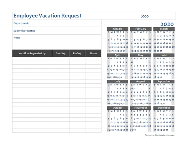 2020 Business Employee Vacation Request - Free Printable