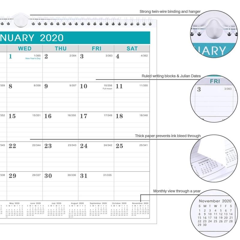 2020 Calendar 12 Monthly Wall Julian Date Thick Paper