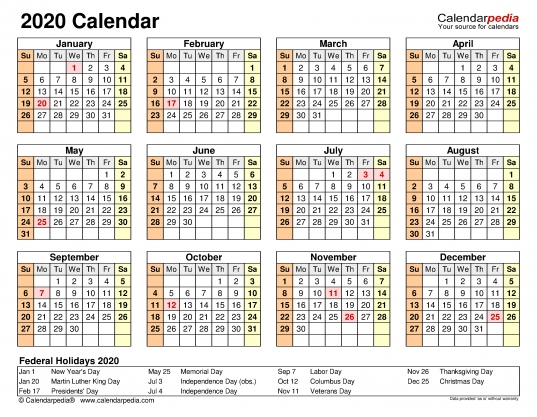 2020 Calendar   Free Printable Microsoft Word Templates