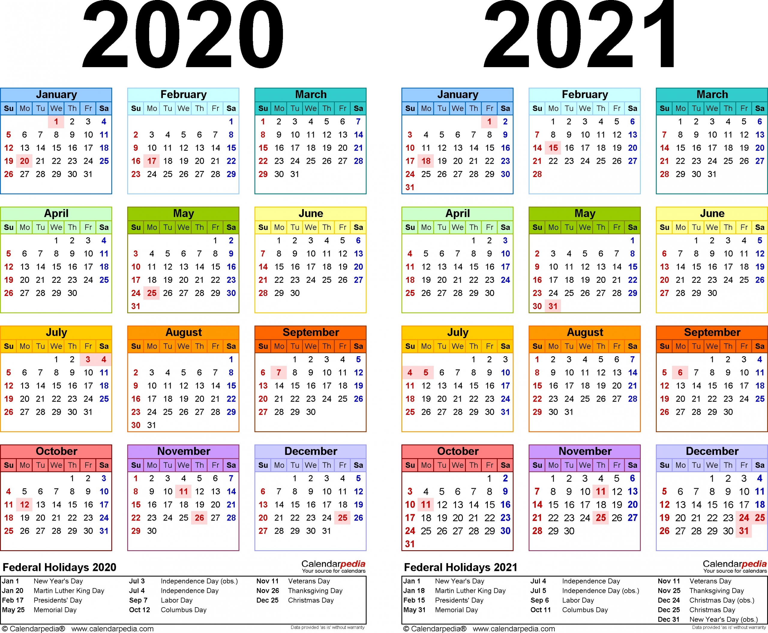 2020 Calendar With Federal Holidays Printable | Free