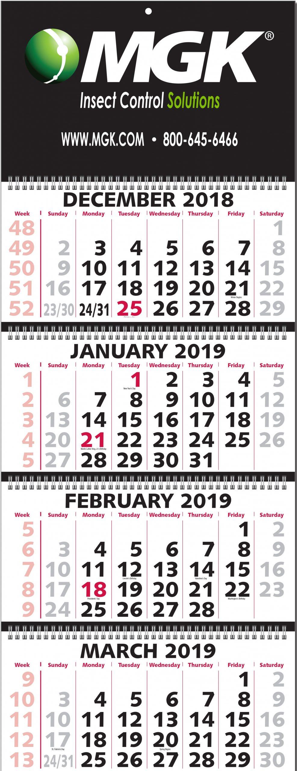 2020 Four-Month-At-A-Glance Calendar (Five Panel Calendar