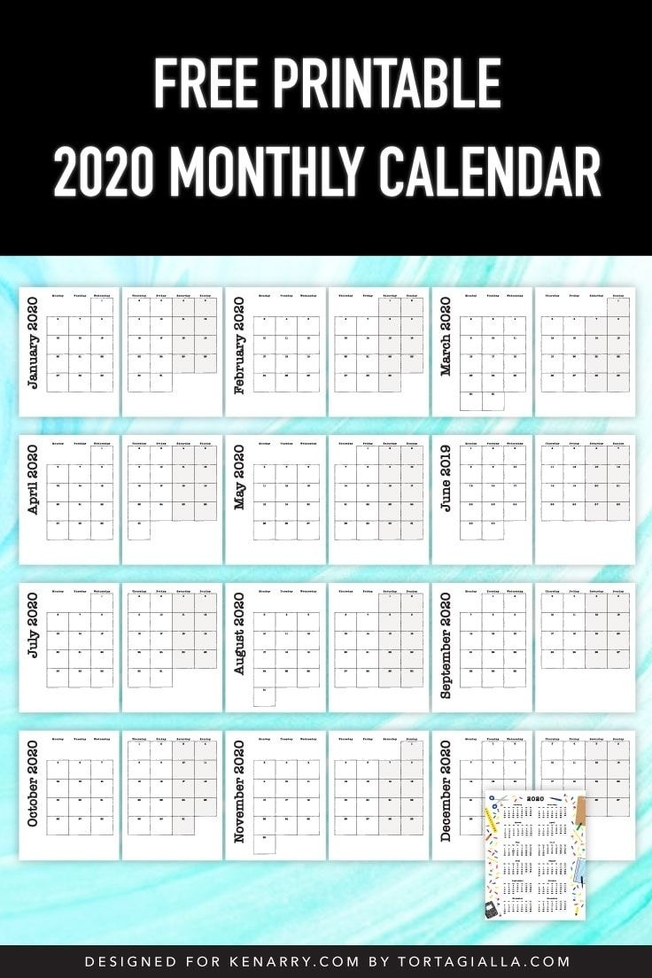 2020 Monthly Calendar Printable For Kids   Kids Planner