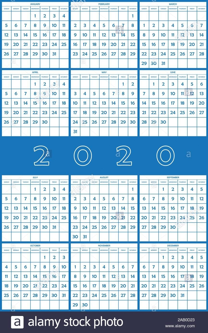 2020 Planner Calendar Big Day Numbers Big Editable Space