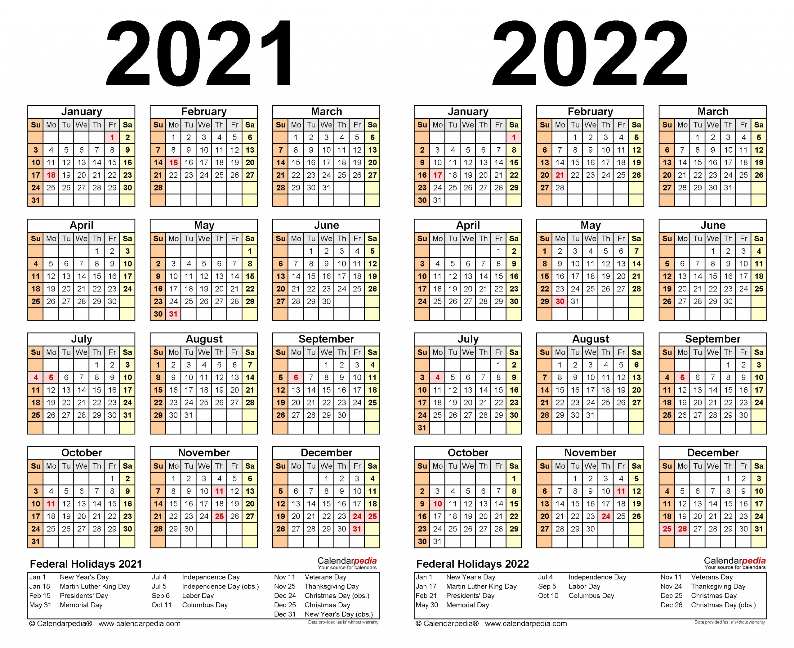 2021-2022 Two Year Calendar - Free Printable Microsoft