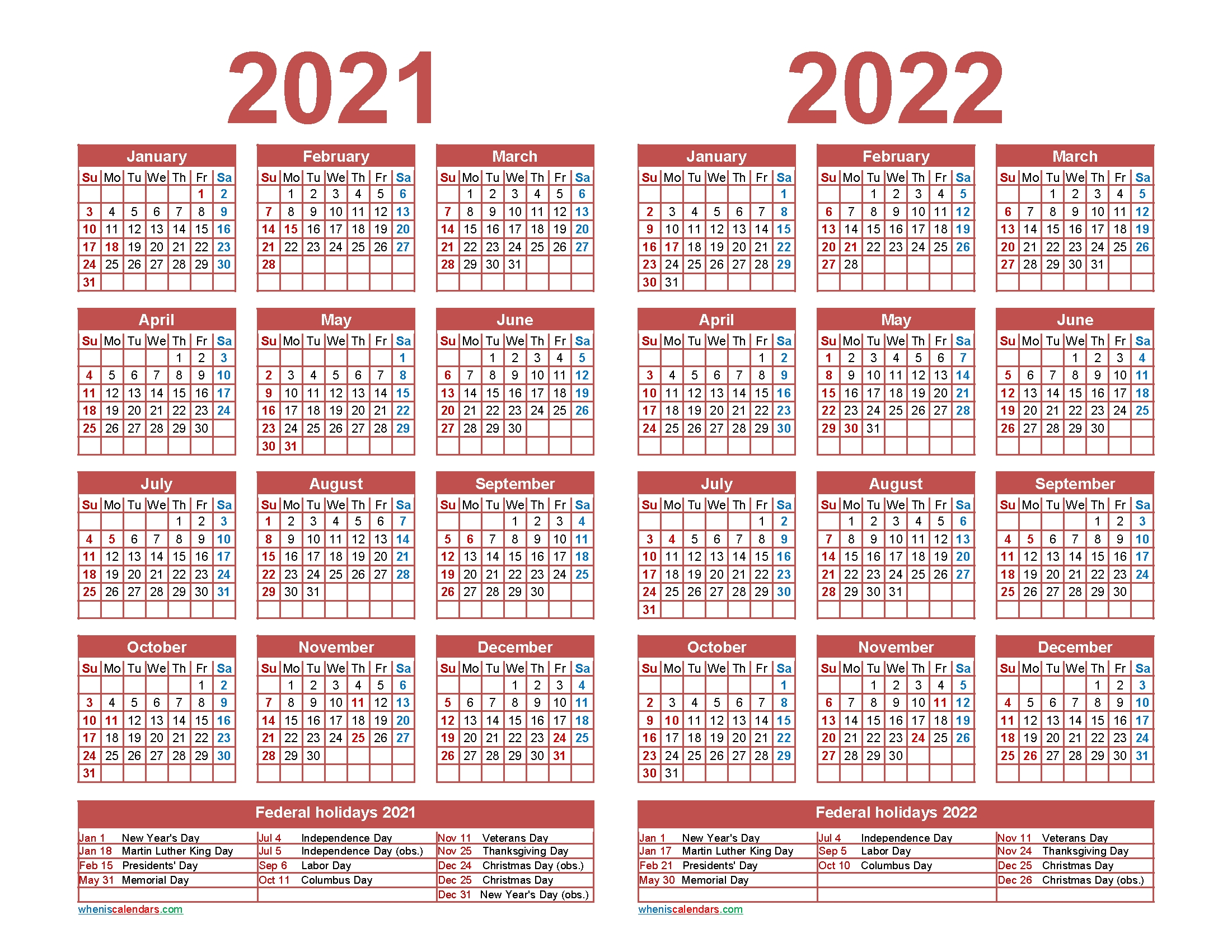 2021 And 2022 Calendar Printable With Holidays | Free