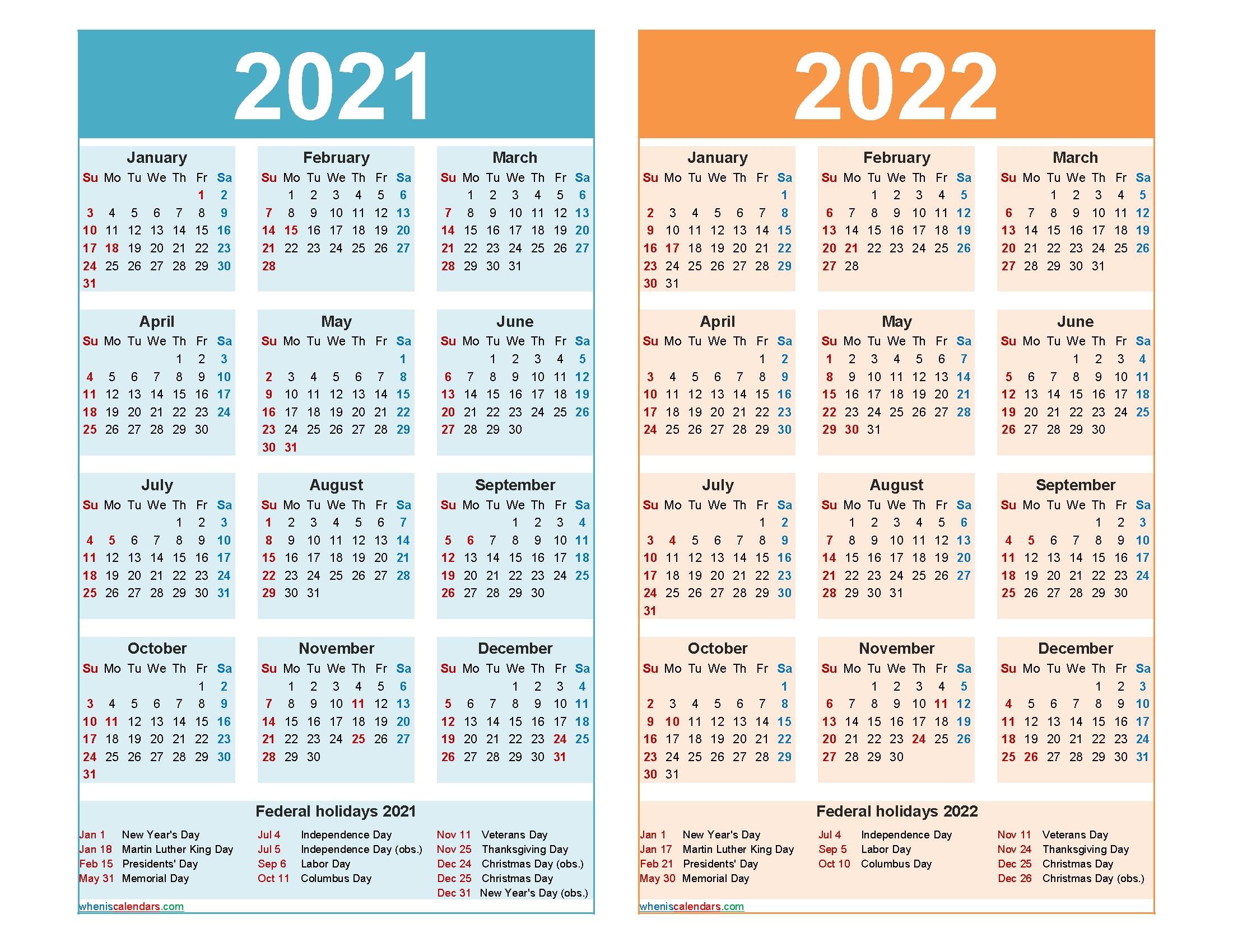 2021 And 2022 Calendar Printable Word, Pdf – Free