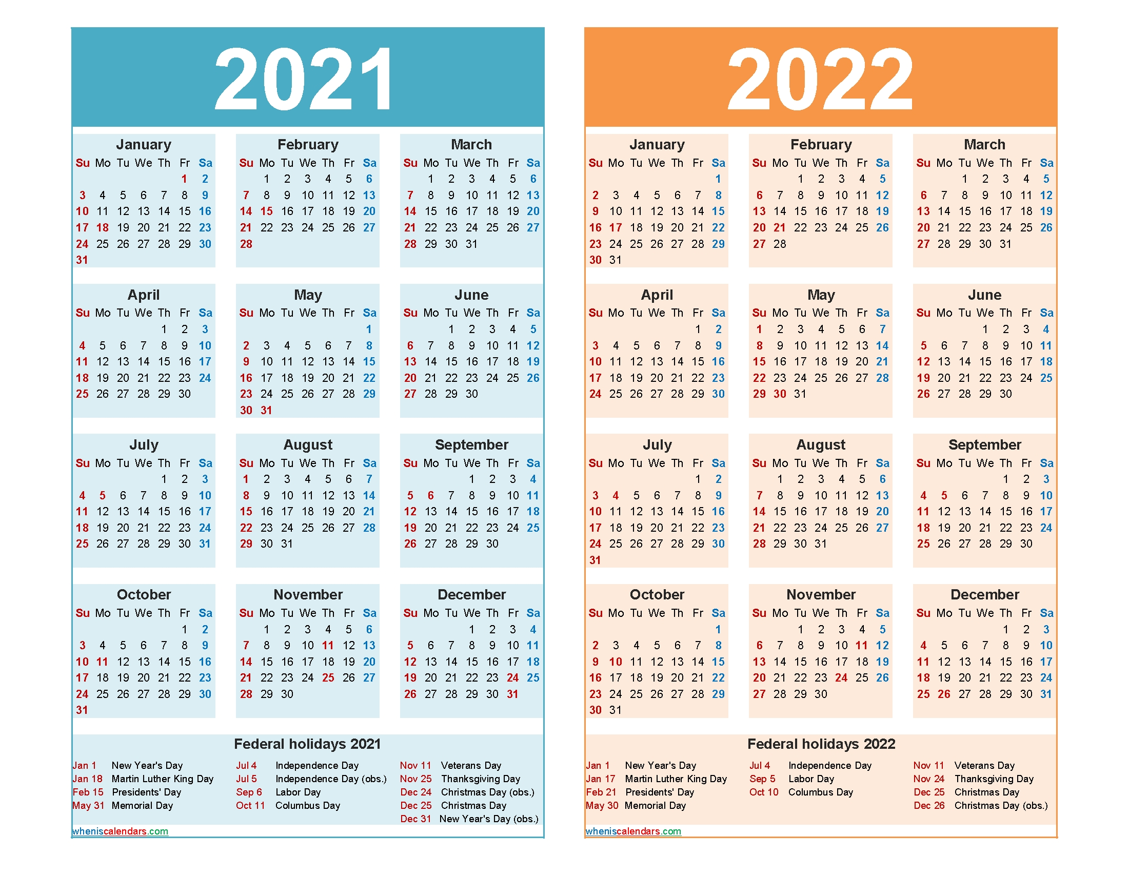 2021 And 2022 Calendar Printable Word, Pdf – Free