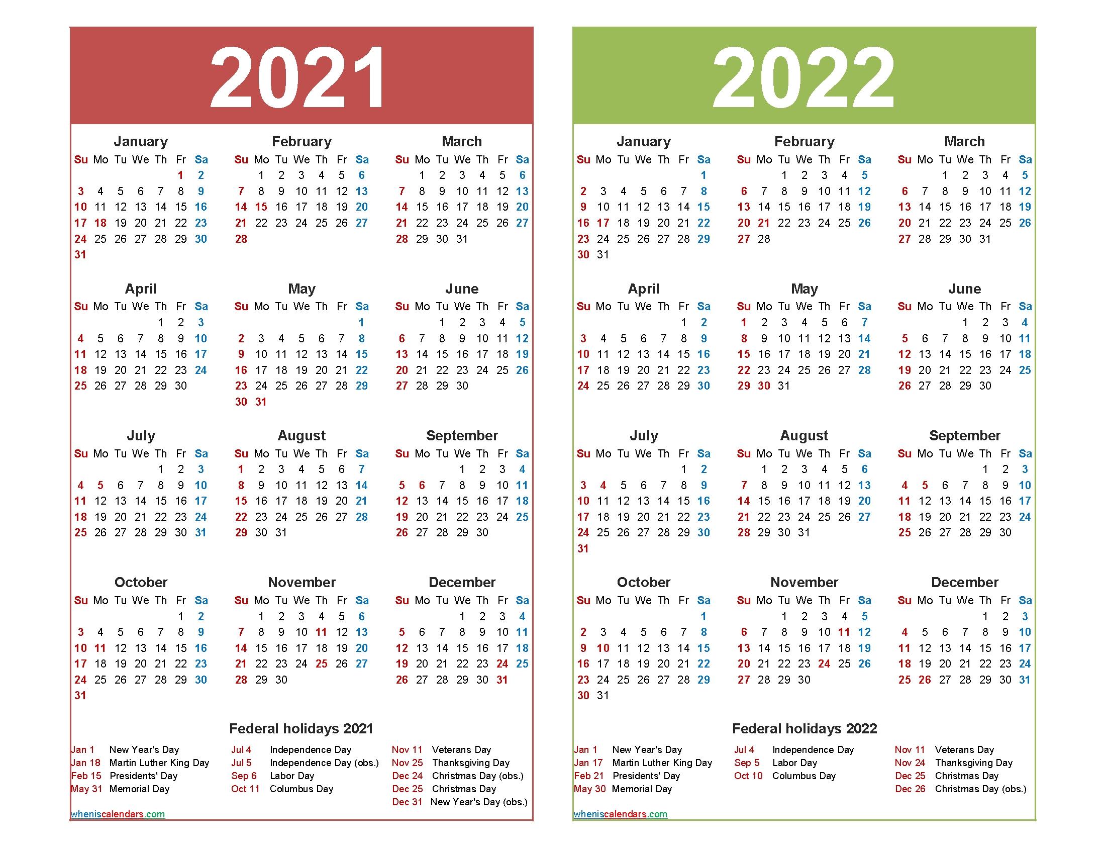 2021 And 2022 Calendar Printable Word, Pdf   Free