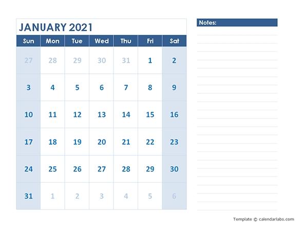 2021 Blank Printable Calendar - Free Printable Templates