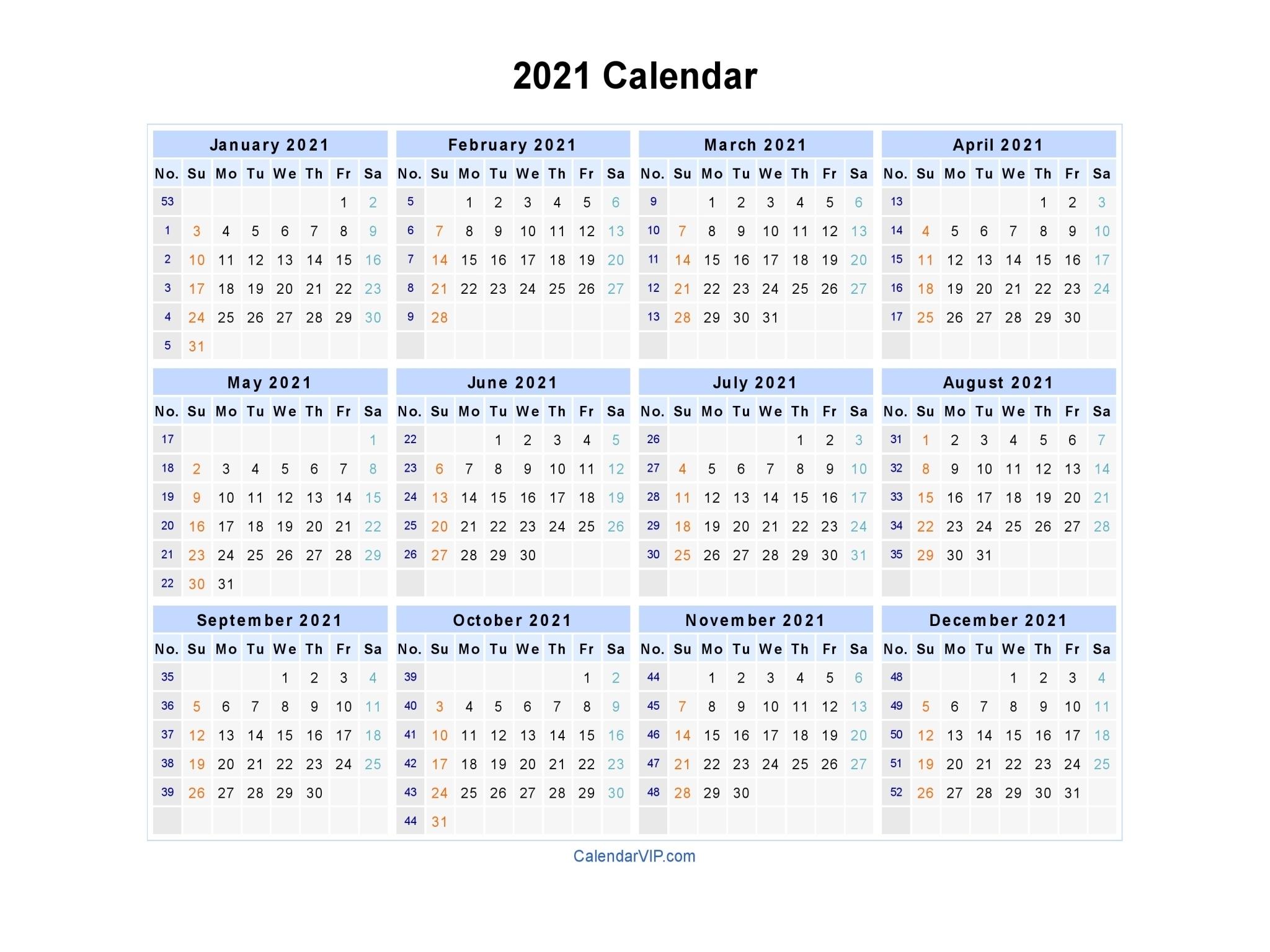 2021 Calendar - Blank Printable Calendar Template In Pdf