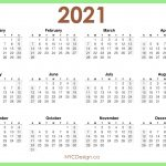 Free 2021 Monday To Sunday Calendar