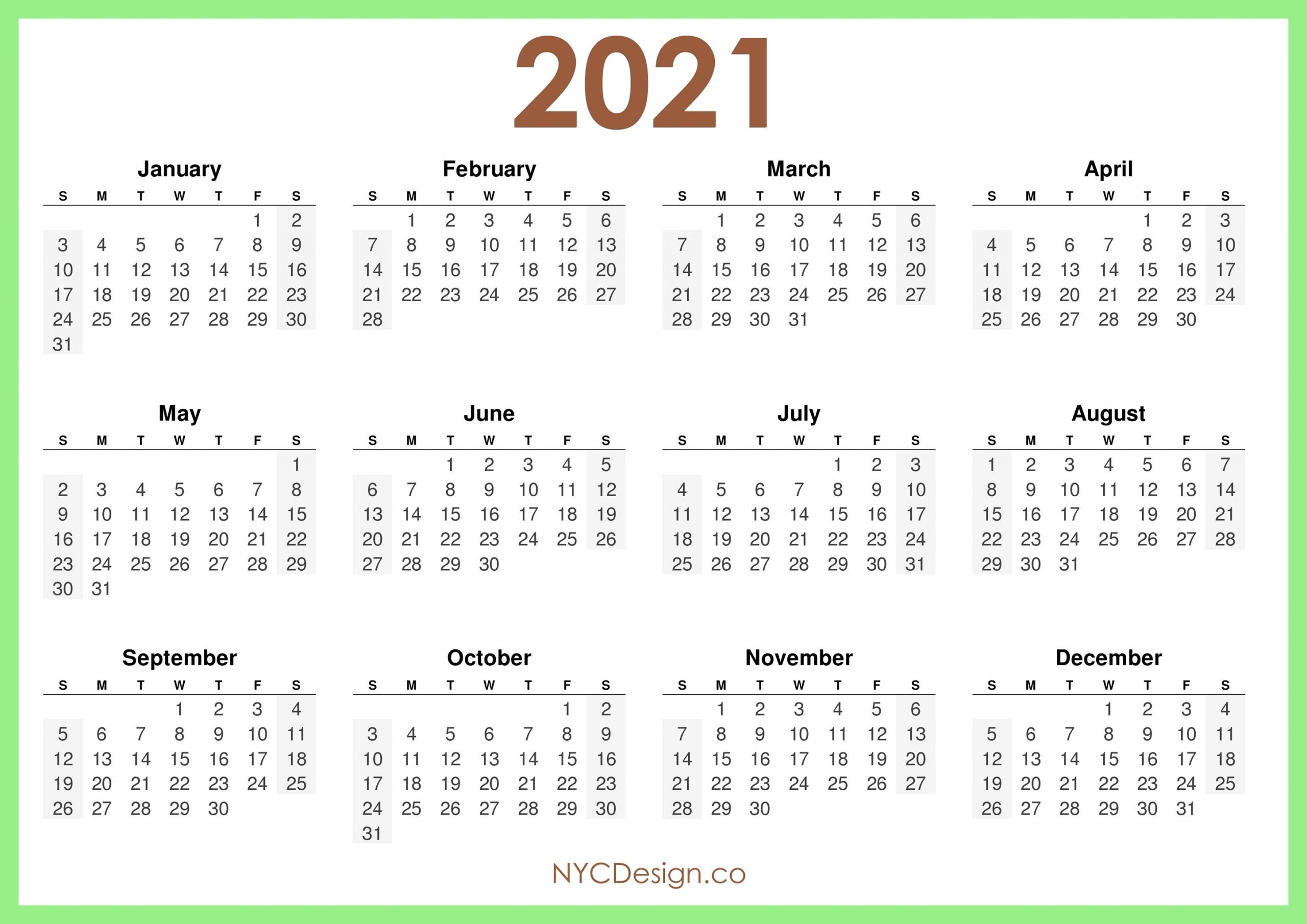 2021 Calendar Printable Free, Horizontal, Light Green, Hd