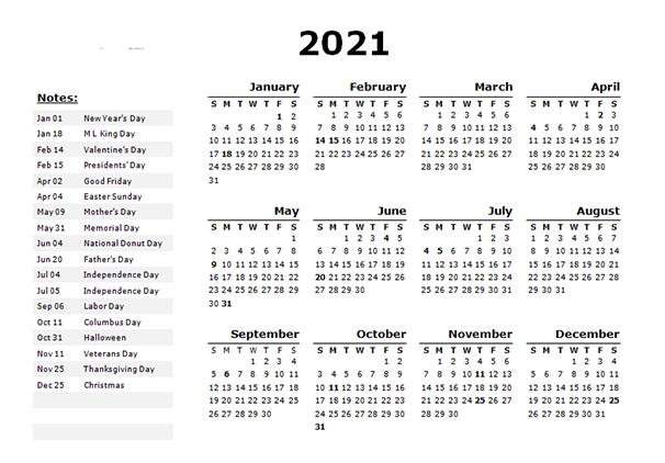 2021 Calendar With Holidays | Calendar 2021
